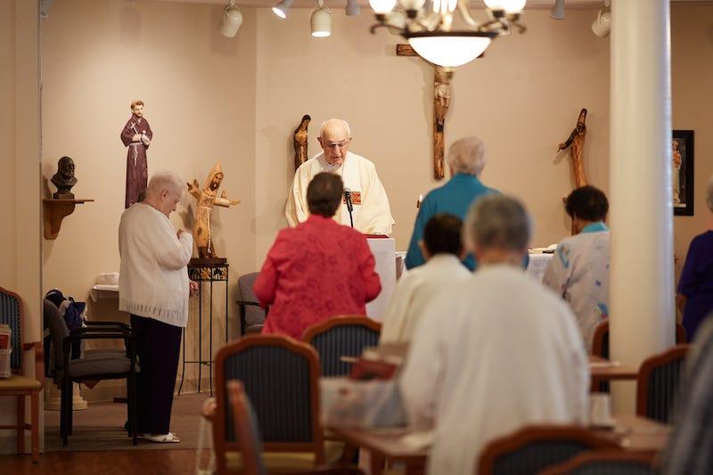 worship at senior living community chapel
